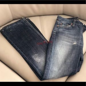 7 For All Mankind Jeans Bootcut Dark Wash Distress